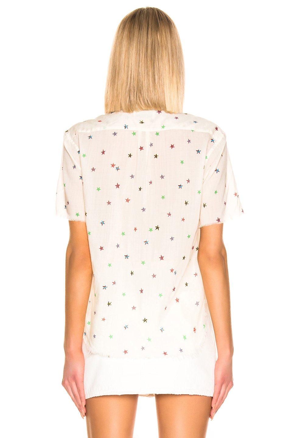 Image 4 of Saint Laurent Short Sleeve Top in White Multicolor