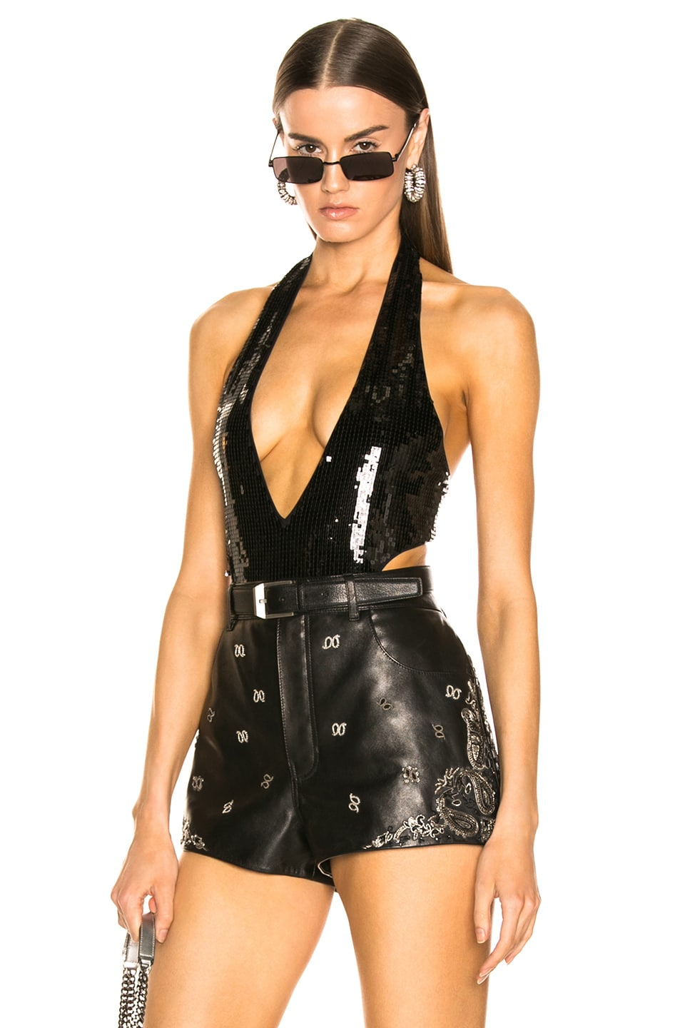 Image 1 of Saint Laurent Sequin Bodysuit in Black