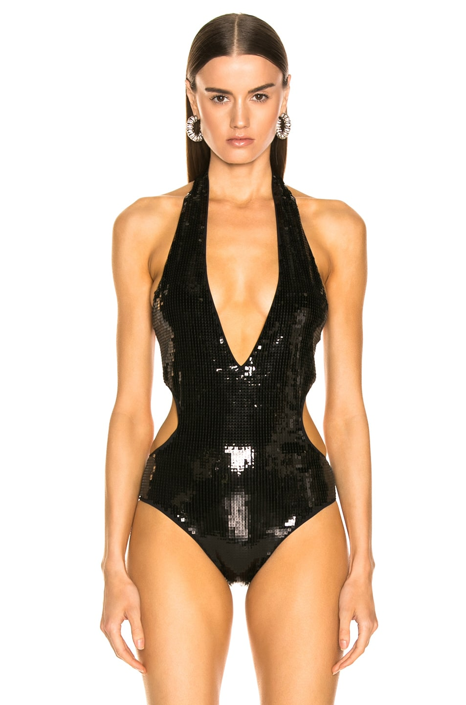 Image 2 of Saint Laurent Sequin Bodysuit in Black