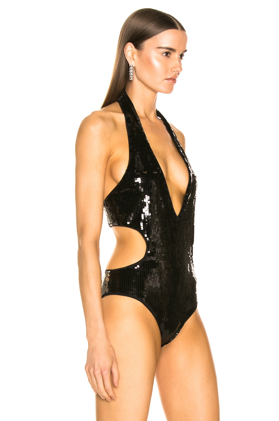 Image 3 of Saint Laurent Sequin Bodysuit in Black