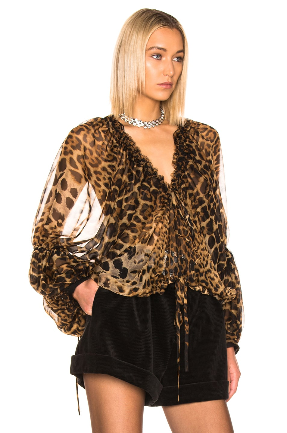 Image 2 of Saint Laurent Leopard Blouse in Leopard