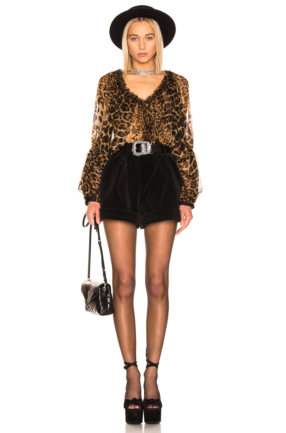 Image 4 of Saint Laurent Leopard Blouse in Leopard