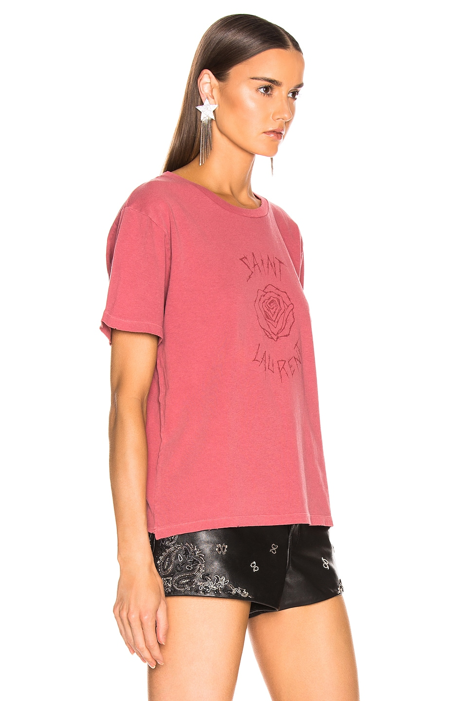 Image 3 of Saint Laurent Logo Tee Shirt in Red