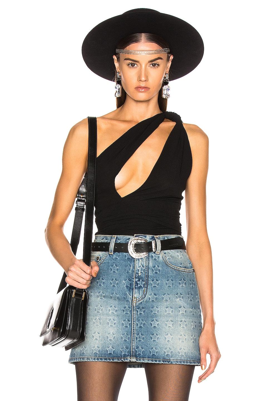 Image 1 of Saint Laurent One Shoulder Bodysuit in Black