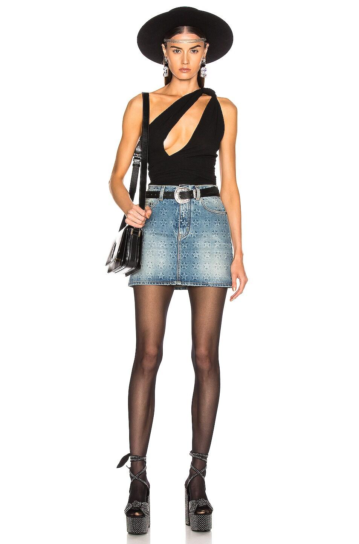 Image 6 of Saint Laurent One Shoulder Bodysuit in Black