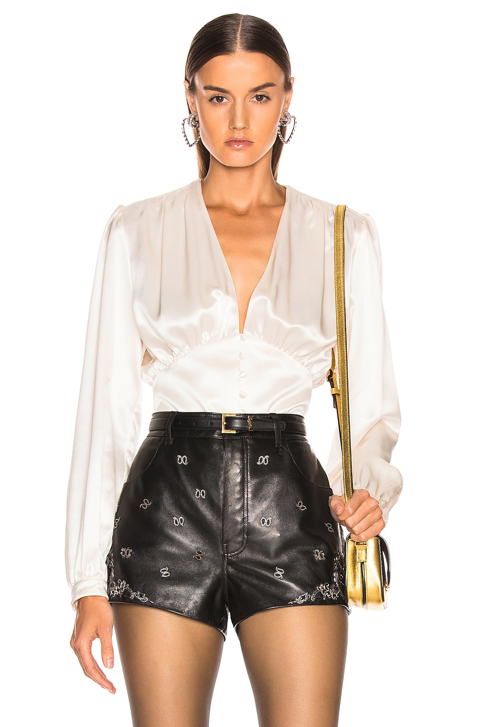 Image 1 of Saint Laurent Satin Blouse in White