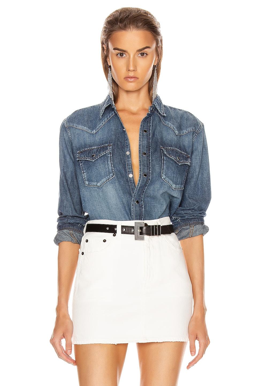 Image 1 of Saint Laurent Classic Western Shirt in Vintage Blue