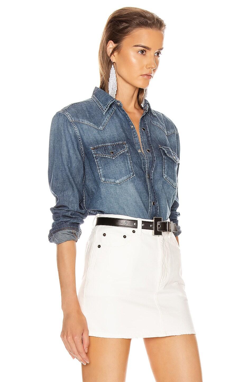 Image 2 of Saint Laurent Classic Western Shirt in Vintage Blue