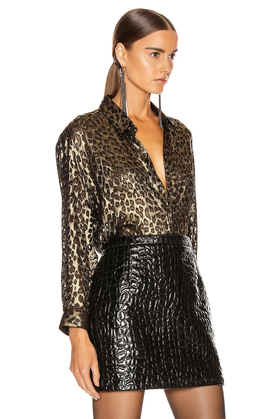 Image 2 of Saint Laurent Leopard Long Sleeve Blouse in Black & Gold