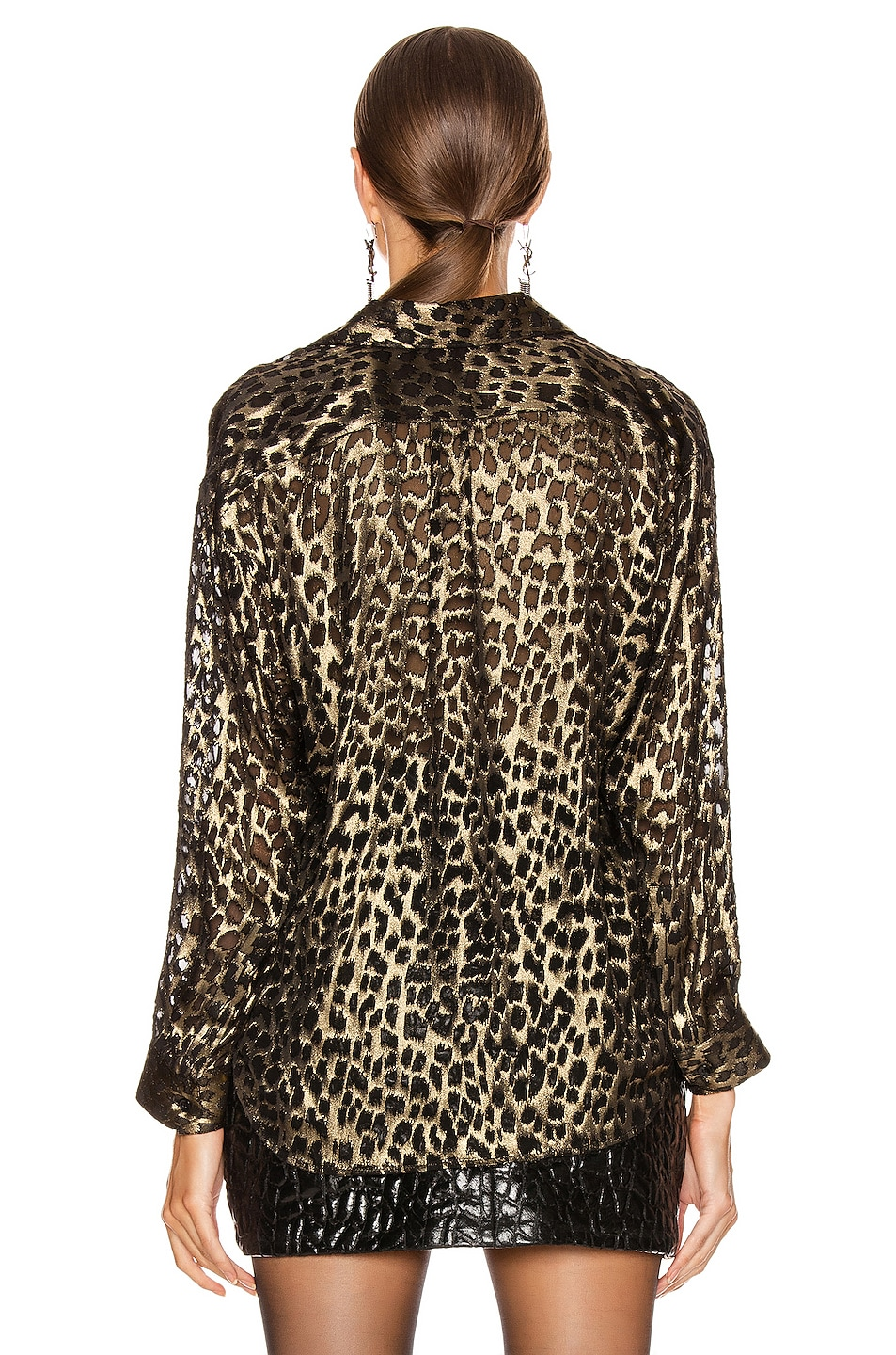 Image 3 of Saint Laurent Leopard Long Sleeve Blouse in Black & Gold