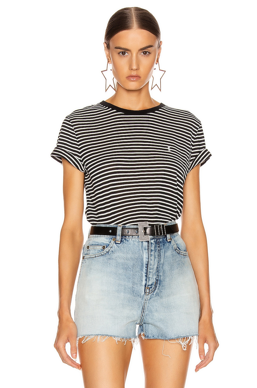 Image 1 of Saint Laurent Striped T Shirt in Black & Natural