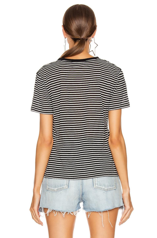 Image 3 of Saint Laurent Striped T Shirt in Black & Natural
