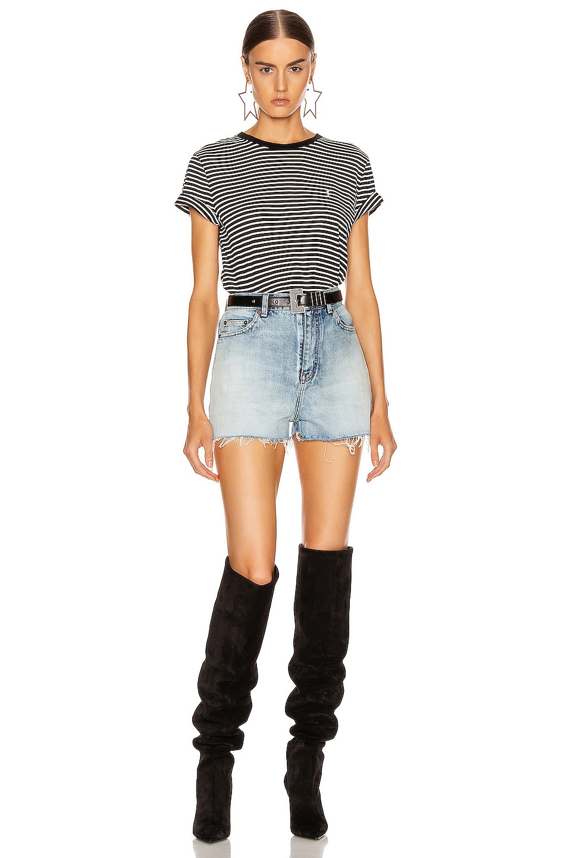 Image 4 of Saint Laurent Striped T Shirt in Black & Natural