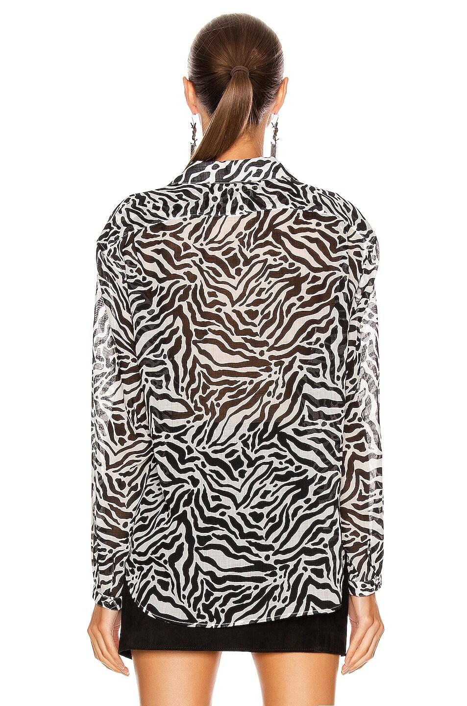 Image 3 of Saint Laurent Zebra Long Sleeve Top in Craie Noir