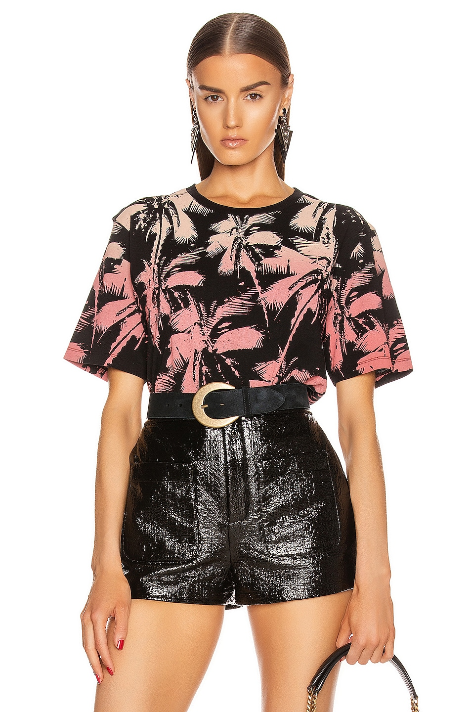 Image 1 of Saint Laurent Palms T Shirt in Black & Yellow & Rose