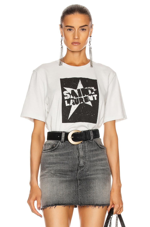 Image 1 of Saint Laurent Crew Neck Boy T-Shirt in Dirty Ecru & Noir