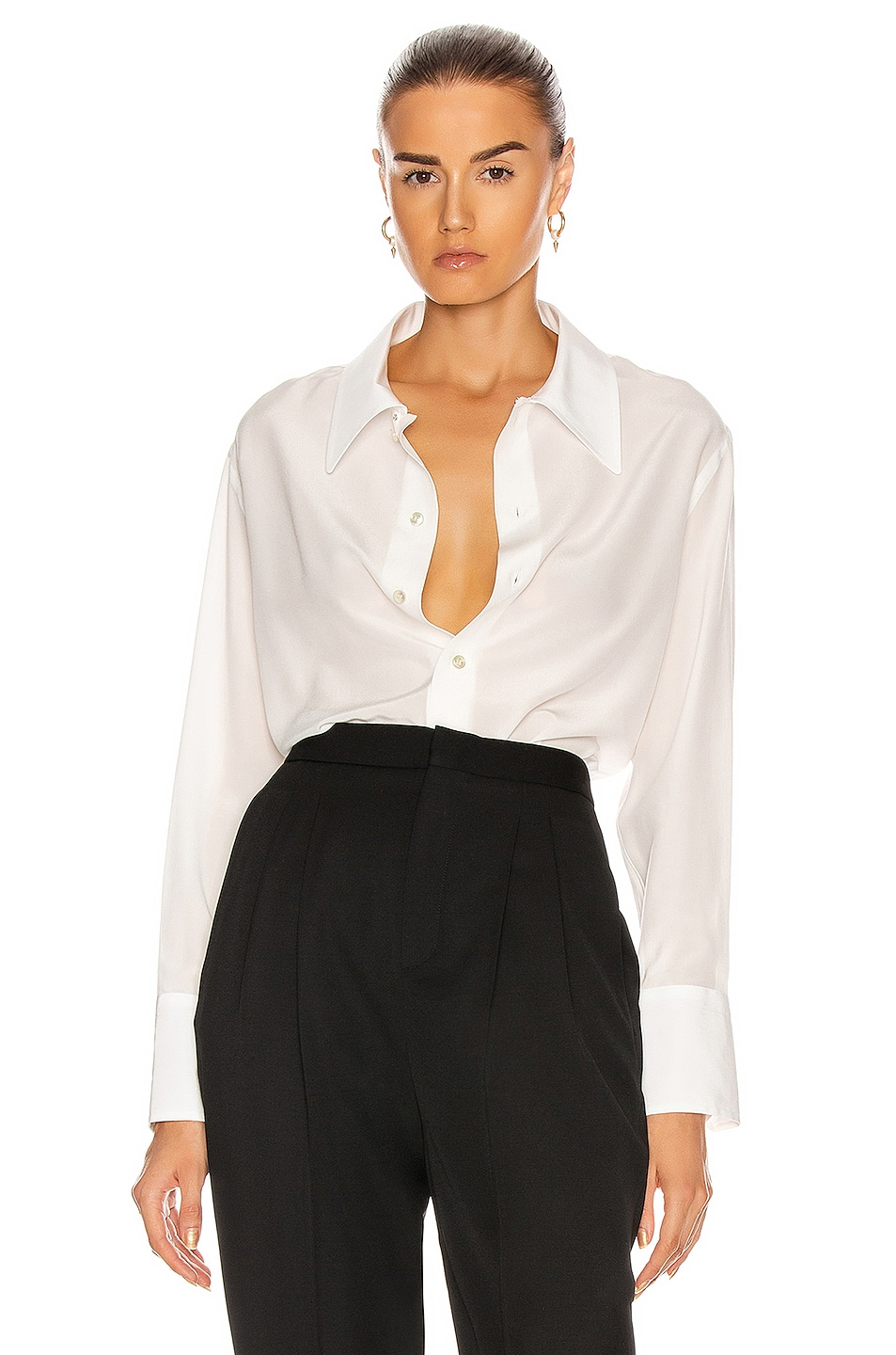 Image 1 of Saint Laurent Button Down Top in Shell