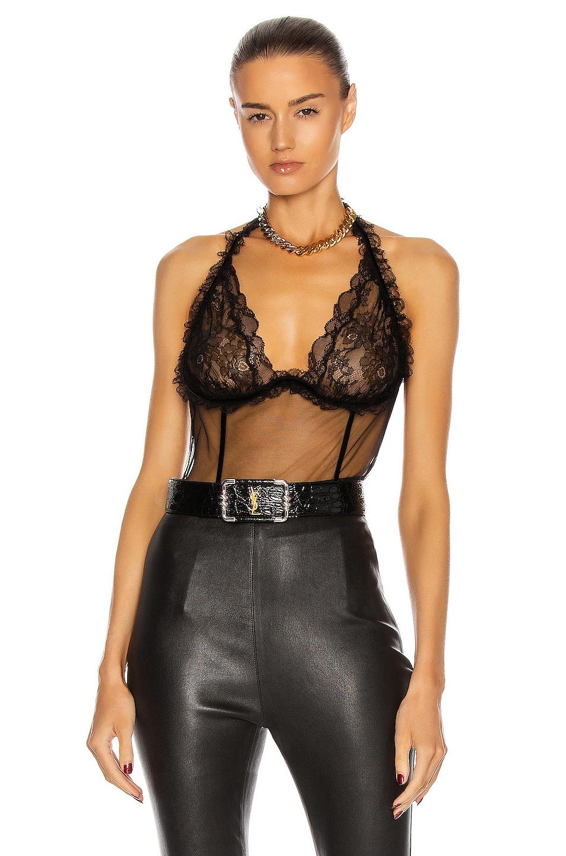Image 1 of Saint Laurent Lace Bodysuit in Noir