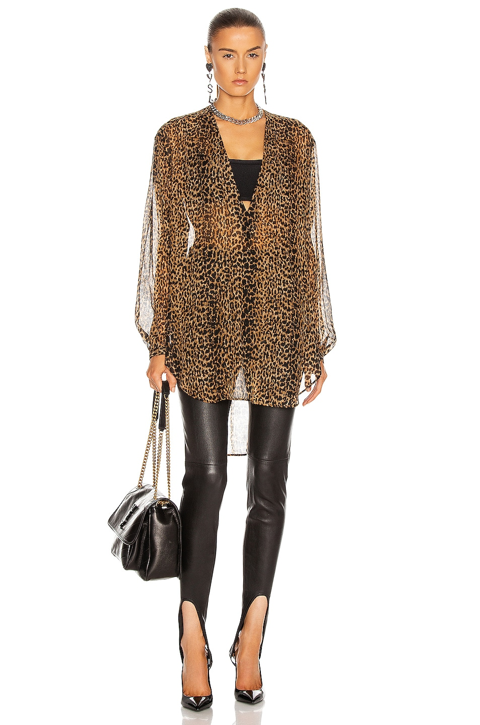 Image 1 of Saint Laurent Long Sleeve Blouse in Rope & Light Brown