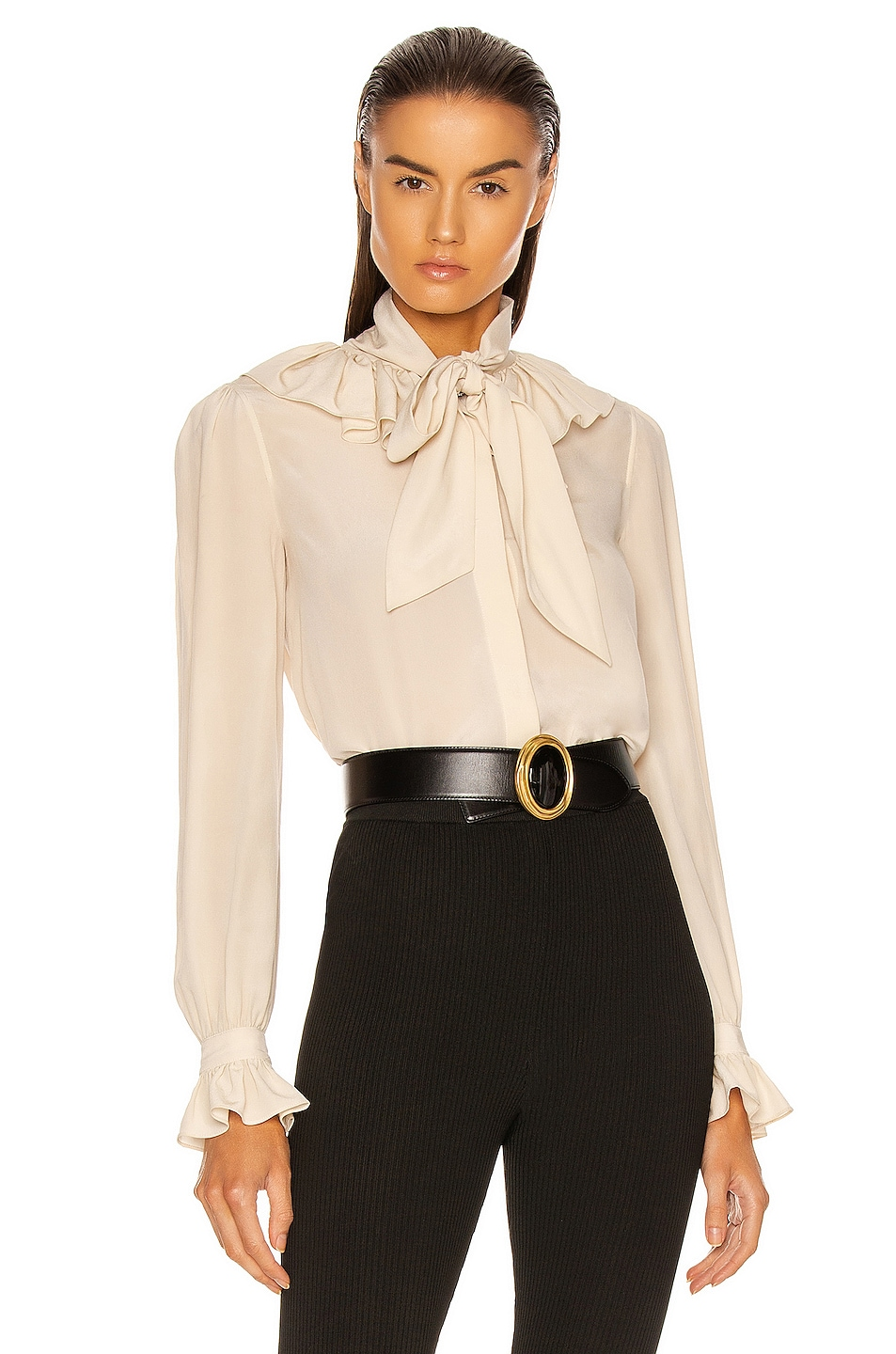 Image 1 of Saint Laurent Ruffle Top in Coquille