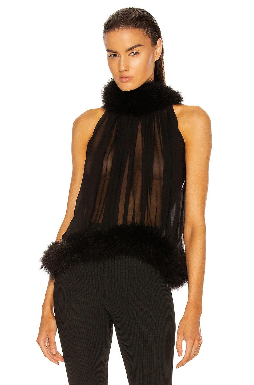 Image 1 of Saint Laurent Feather Halter Top in Noir