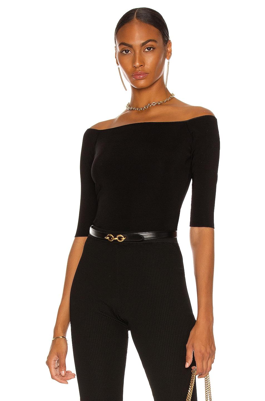 Image 1 of Saint Laurent V Collar Top in Noir