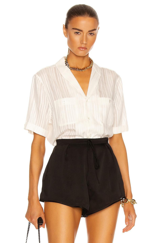 Image 1 of Saint Laurent Short Sleeve Blouse in Craie