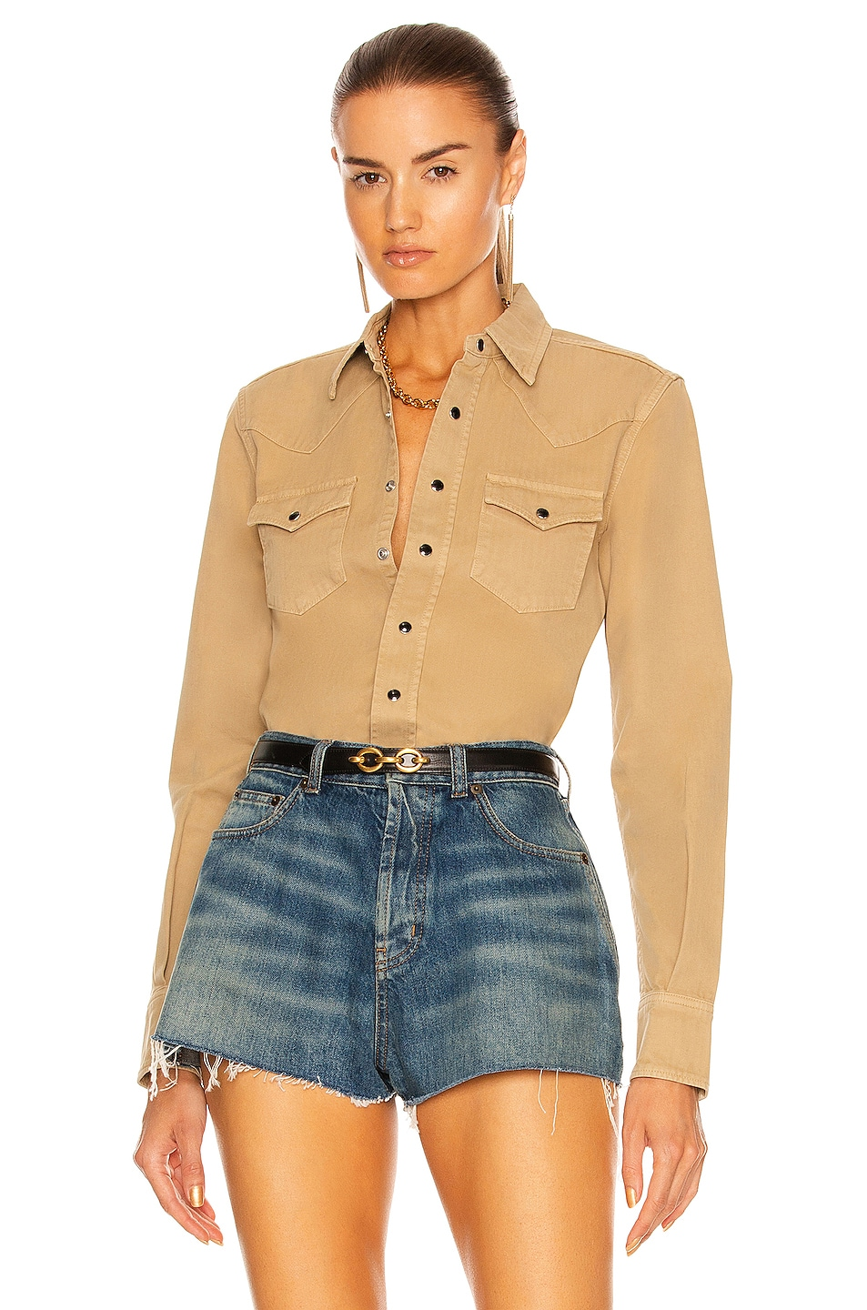 Image 1 of Saint Laurent Classic Western Shirt in Beige Dyed Stonewash