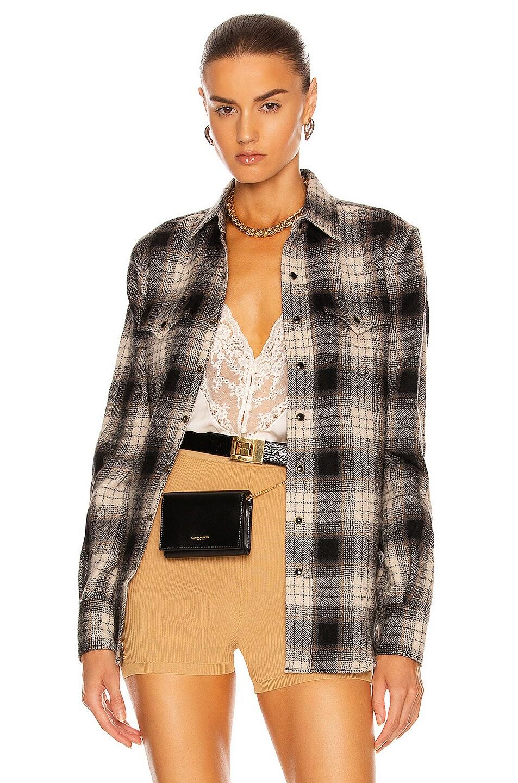Image 1 of Saint Laurent Classic Western Shirt in Brown & Beige & Black