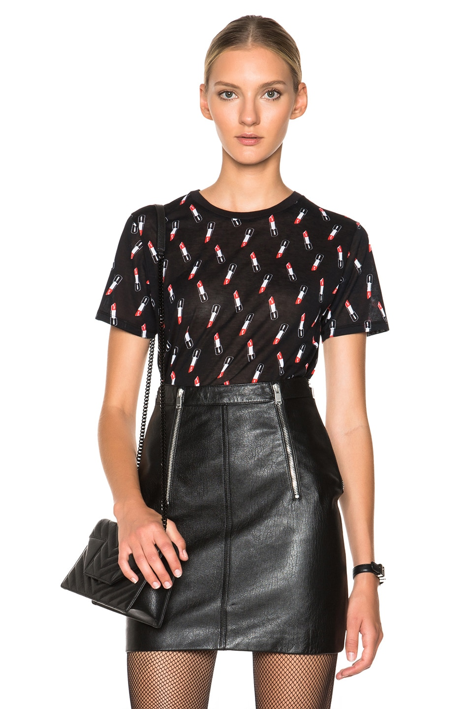 Image 1 of Saint Laurent Lipstick Print Tee in Black, Red & White