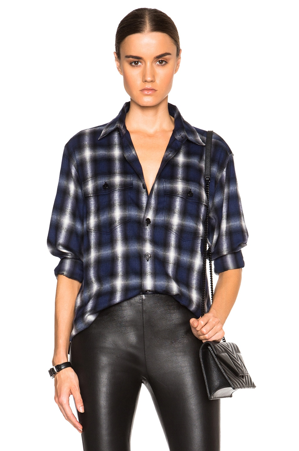 Image 1 of Saint Laurent Oversized Fine Check Flannel Shirt in Blue Rinse