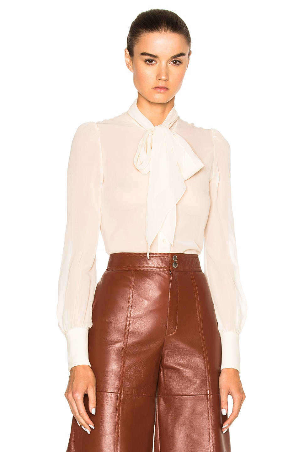 Image 1 of Saint Laurent Silk Georgette Blouse in Vanilla