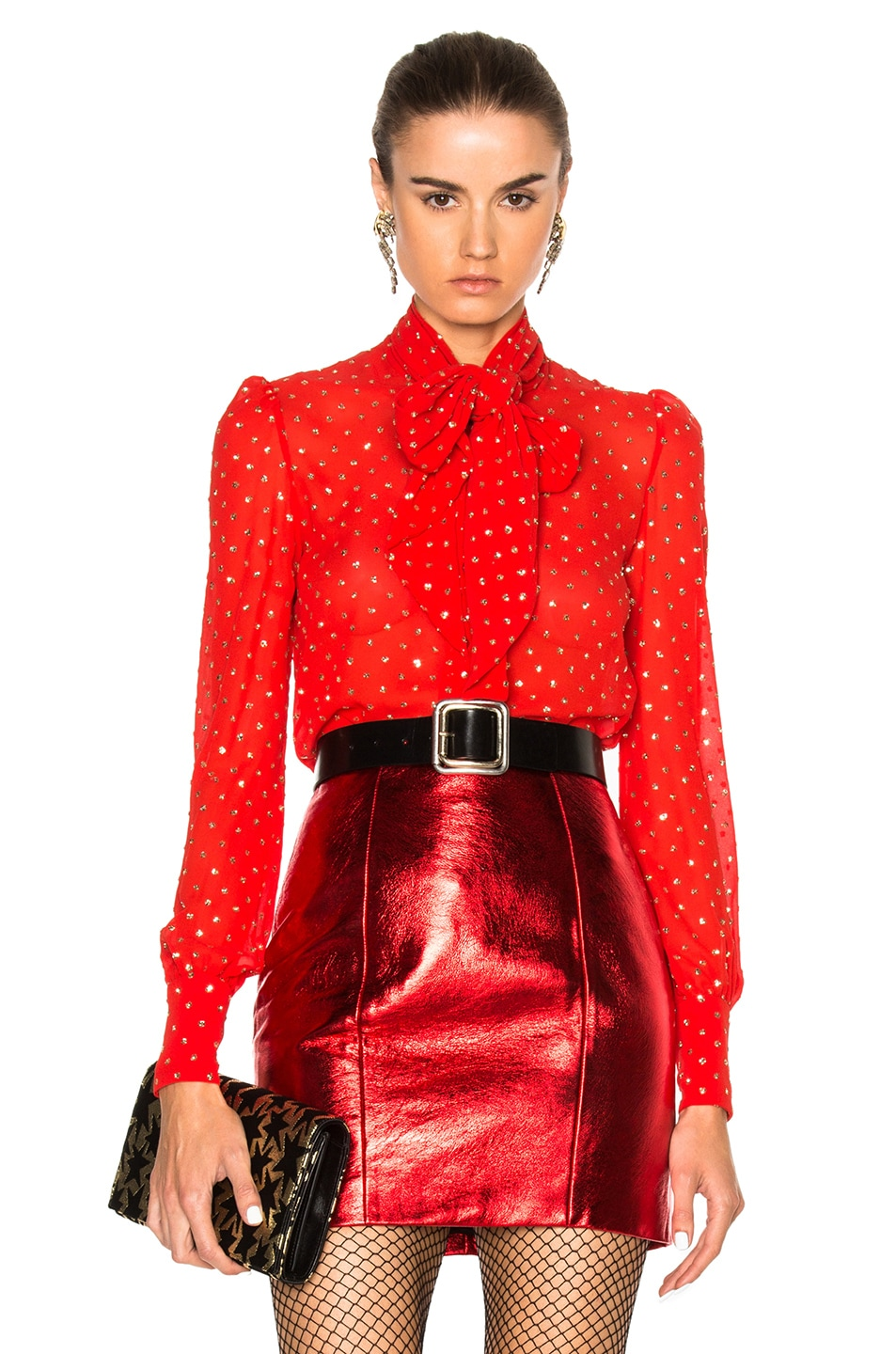 fa996f1c291 Image 1 of Saint Laurent Glitter Blouse in Red & Gold