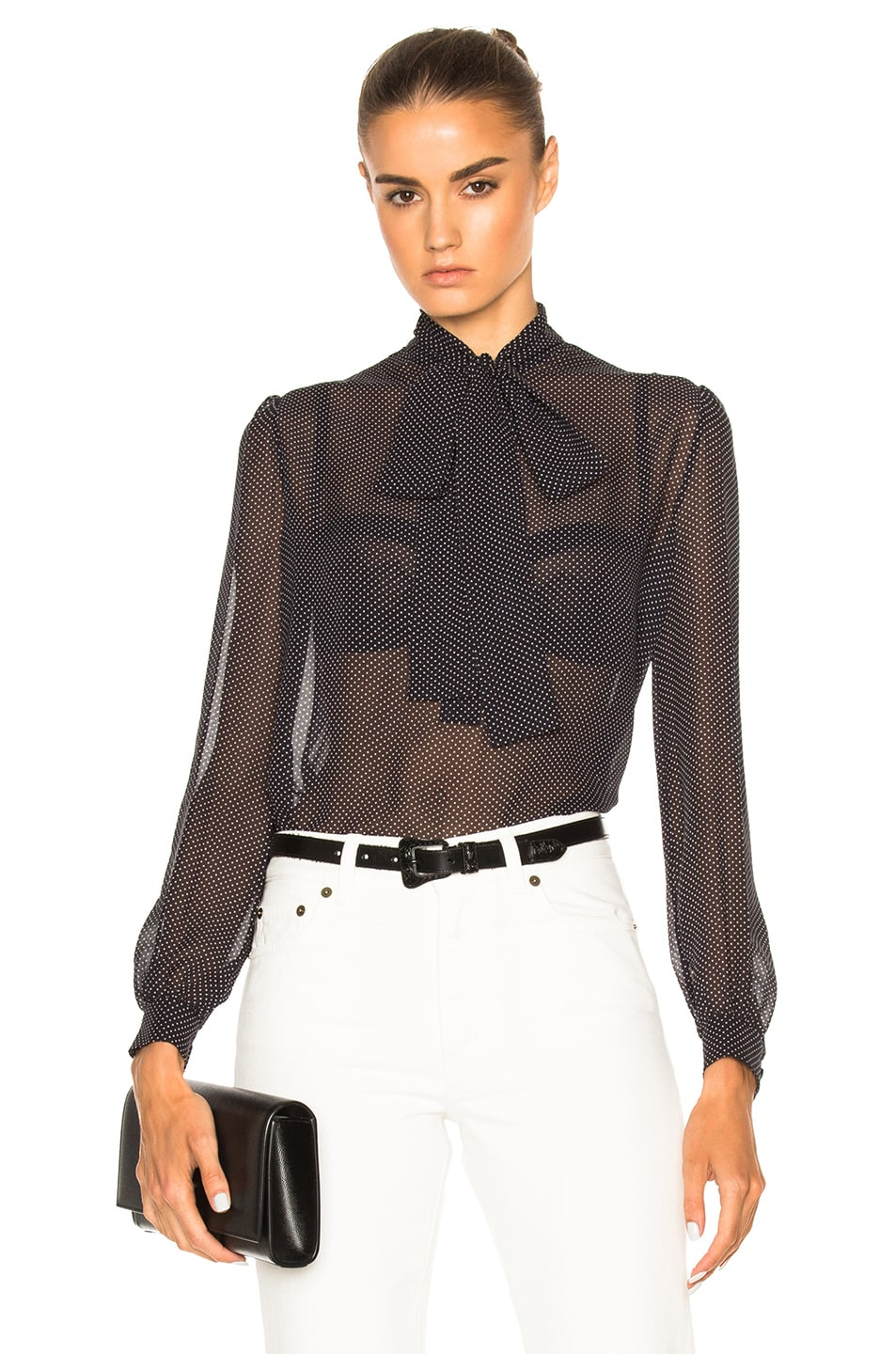 Image 1 of Saint Laurent Georgette Blouse in Marine & Natural