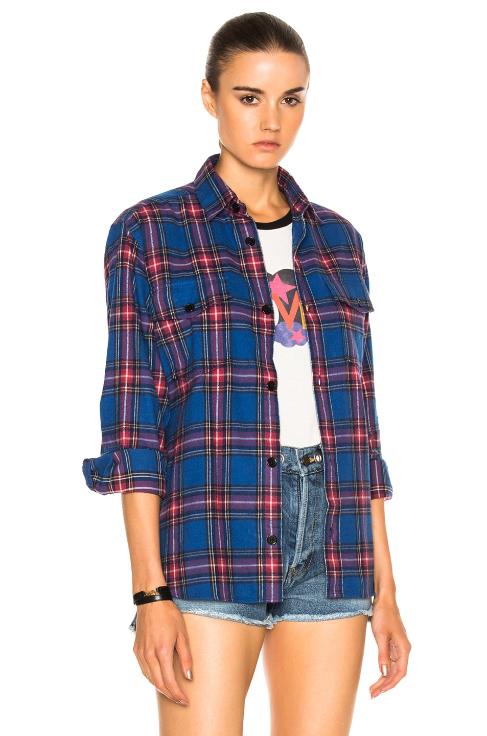 Image 1 of Saint Laurent Oversize Plaid Shirt in Blue & Red Rinse