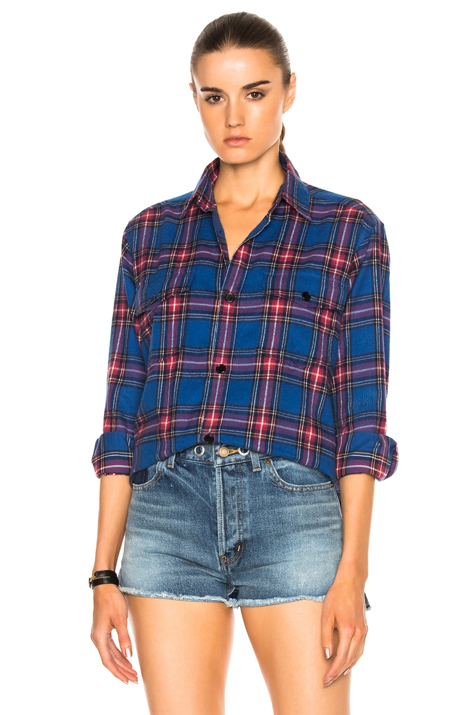 Image 2 of Saint Laurent Oversize Plaid Shirt in Blue & Red Rinse