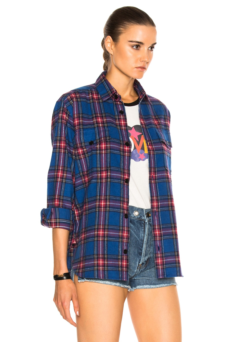 Image 4 of Saint Laurent Oversize Plaid Shirt in Blue & Red Rinse