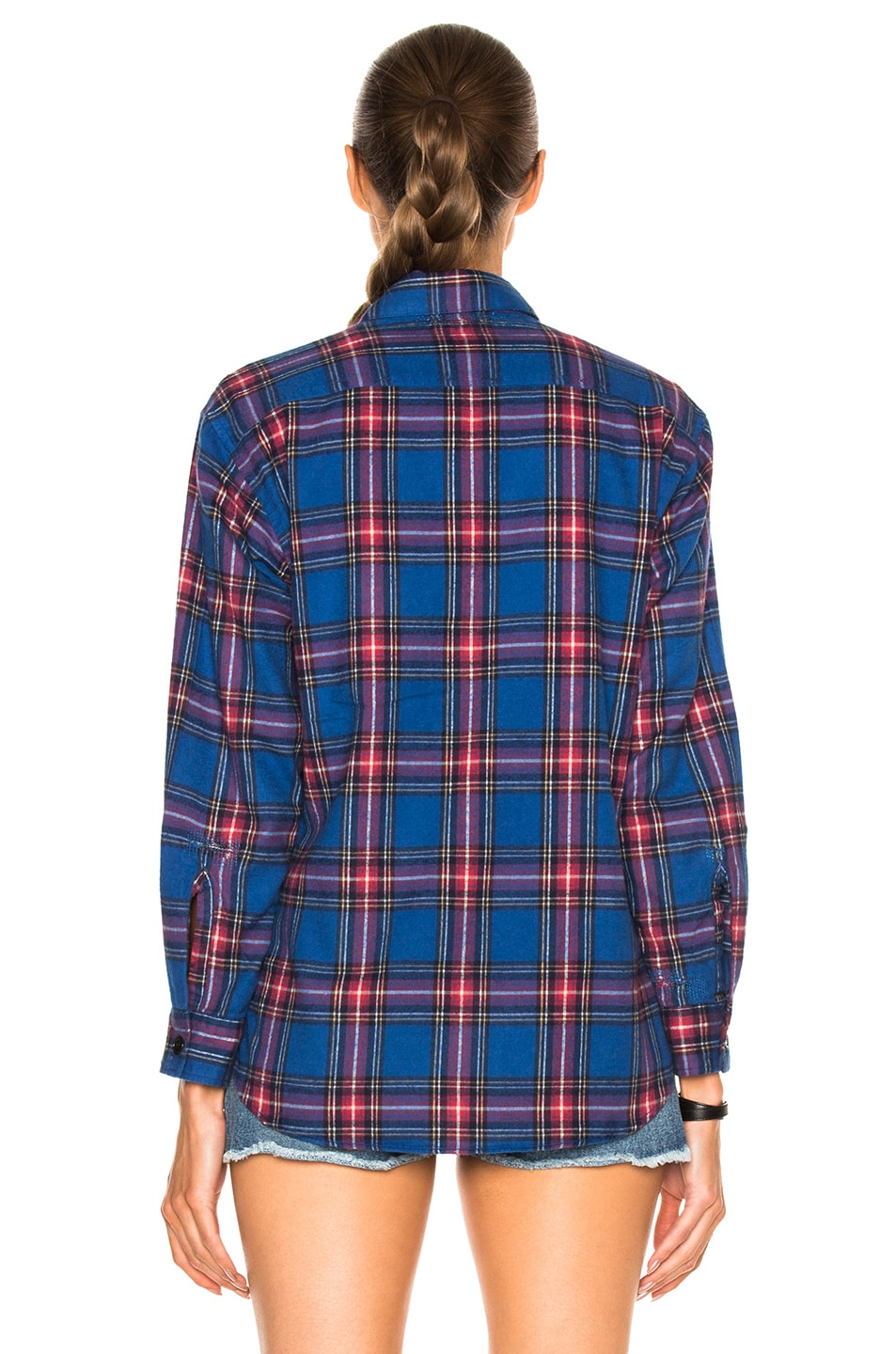 Image 5 of Saint Laurent Oversize Plaid Shirt in Blue & Red Rinse