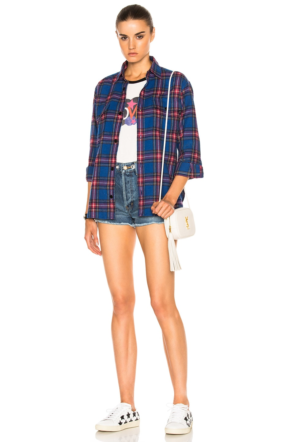 Image 6 of Saint Laurent Oversize Plaid Shirt in Blue & Red Rinse