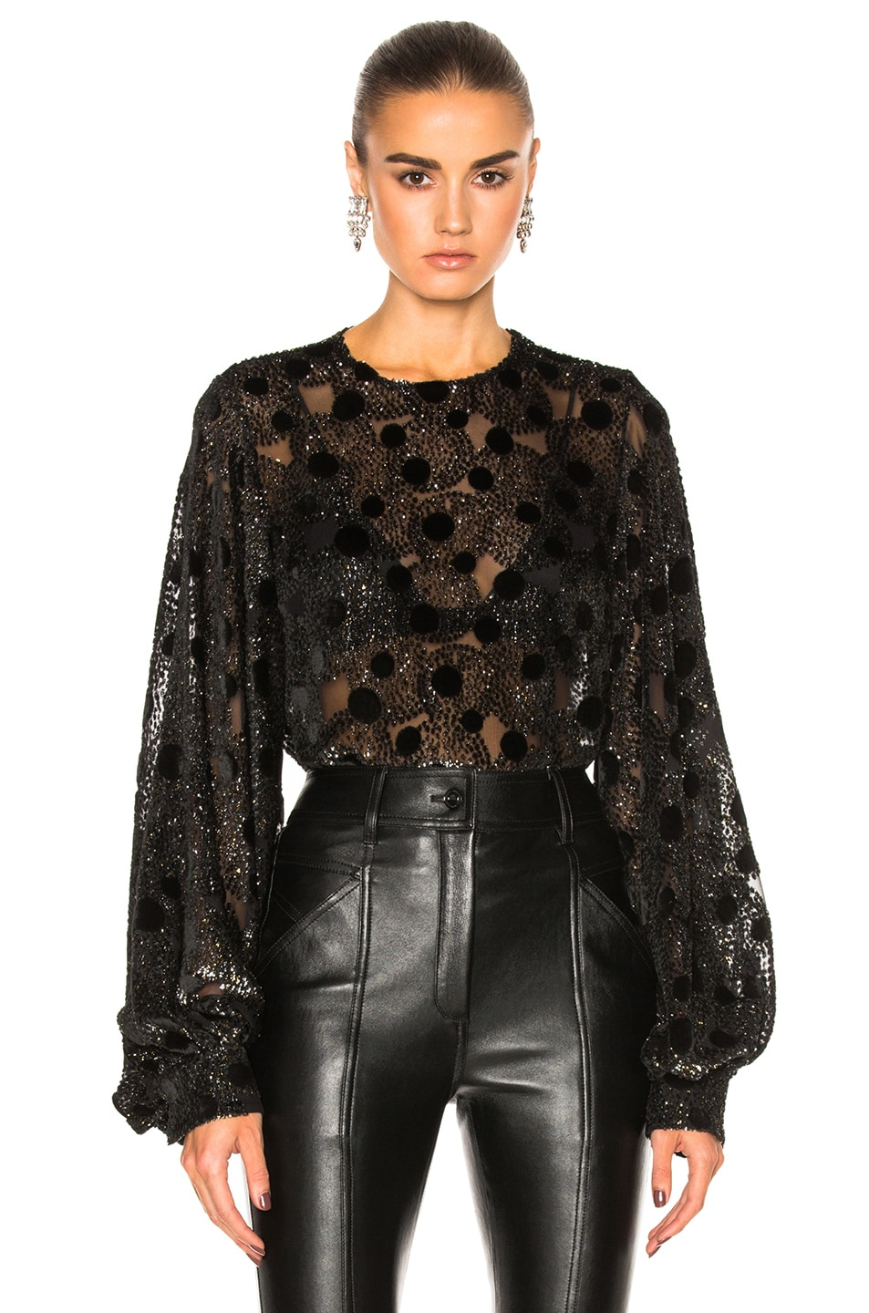 Image 1 of Saint Laurent Polka Dot Crew Neck Blouse in Black & Gold & Silver