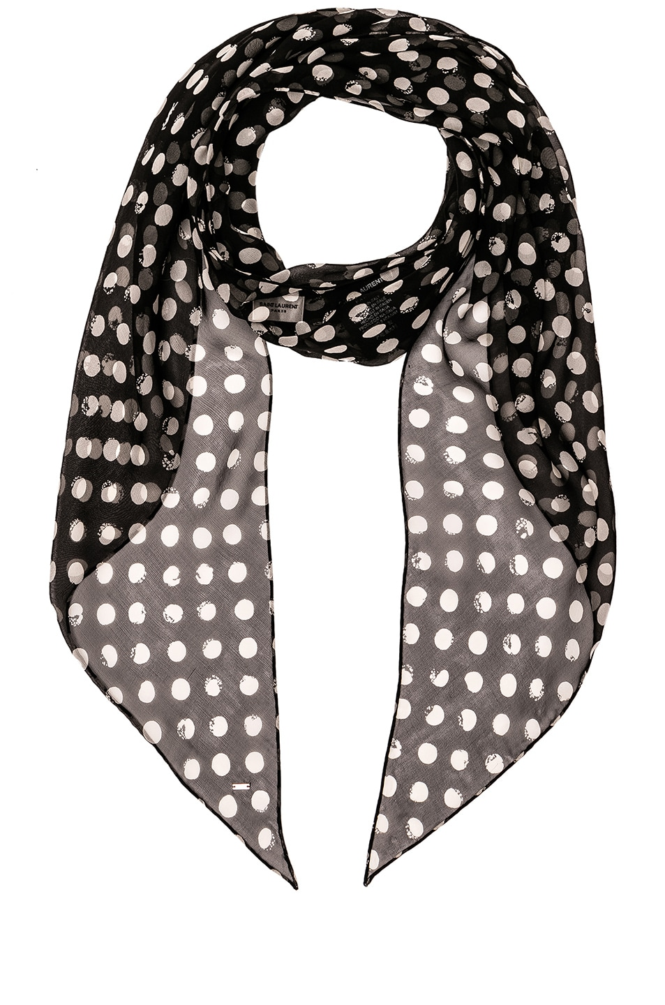 Image 1 of Saint Laurent Silk Polka Dot Scarf in Black & White