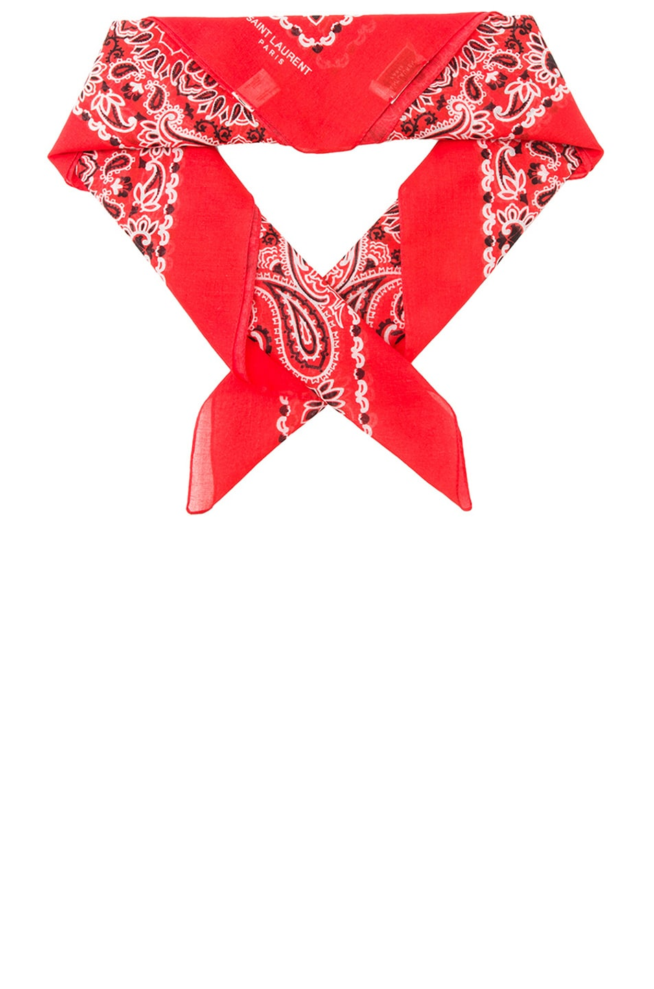 Image 1 of Saint Laurent Bandana Print Scarf in Lipstick Red & White