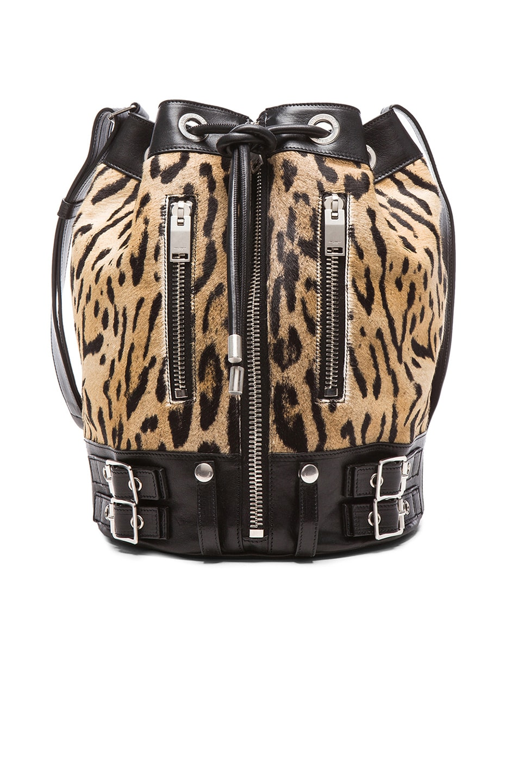 Image 1 of Saint Laurent Medium Rider Leopard Pony Bucket Bag in Natural & Black