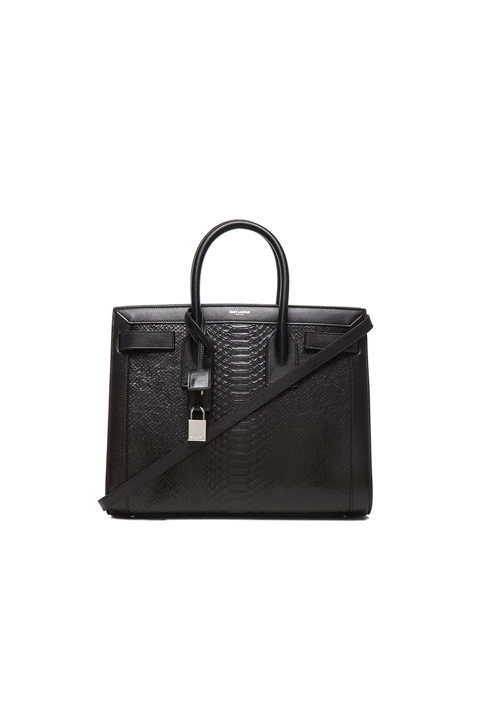 Image 1 of Saint Laurent Small Sac De Jour Embossed Carryall Bag in Python Black