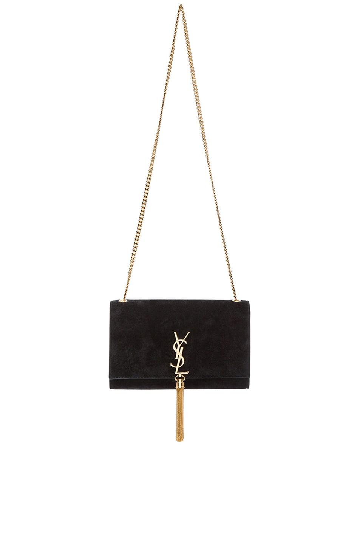 Image 1 of Saint Laurent Medium Monogramme Suede Chain Tassel Bag Suede in Black