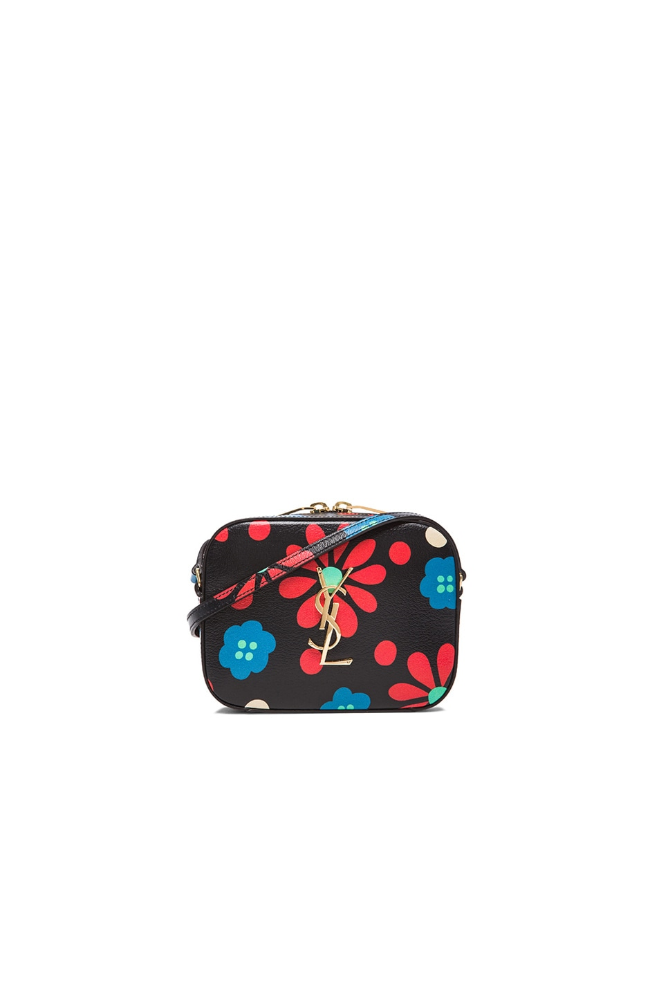 Image 1 of Saint Laurent Flower Print Monogramme Camera Bag in Black & Multi