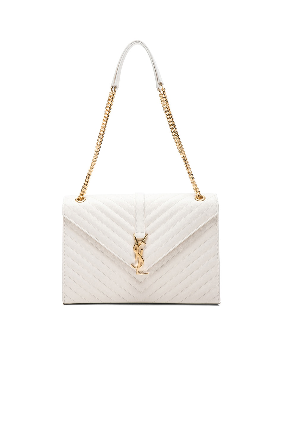 Image 1 of Saint Laurent Large Monogram Envelope Chain Bag in Blanc Grise