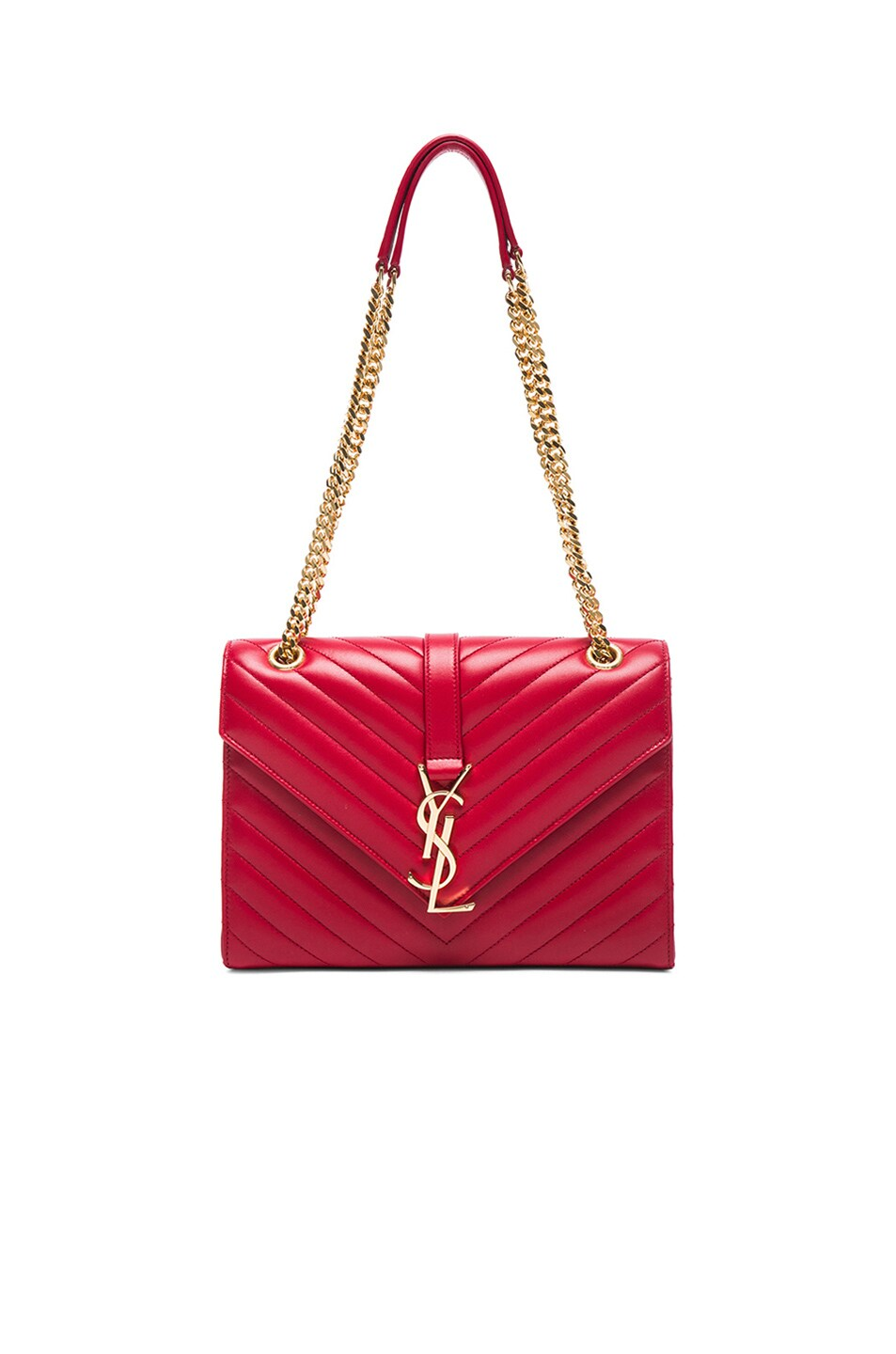 cca3e4b59c9 Image 1 of Saint Laurent Medium Monogram Envelope Chain Bag in Lipstick Red