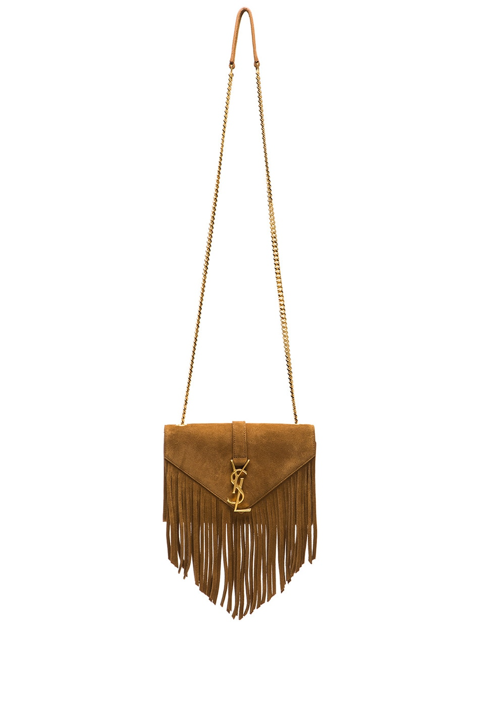Image 1 of Saint Laurent Small Suede & Fringes Monogramme Chain Bag in Light Ocre
