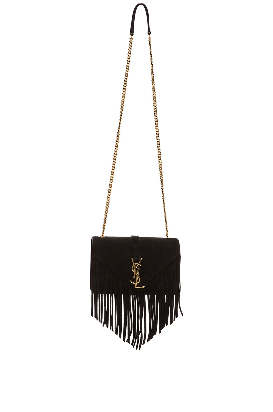 b1a843fee9 Image 1 of Saint Laurent Small Suede & Fringes Monogram Chain Bag in Black